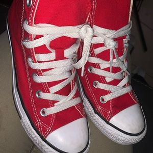 Red hi top converse